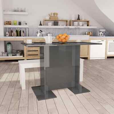 vidaXL Dining Table High Gloss Grey 110cm Chipboard Kitchen