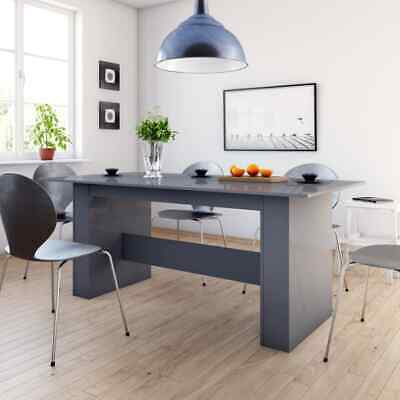 vidaXL Dining Table High Gloss Grey Chipboard Kitchen Home
