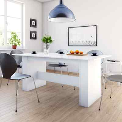 vidaXL Dining Table High Gloss White Chipboard Kitchen Home