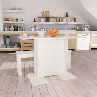 vidaXL Dining Table White 110cm Chipboard Kitchen Dinner