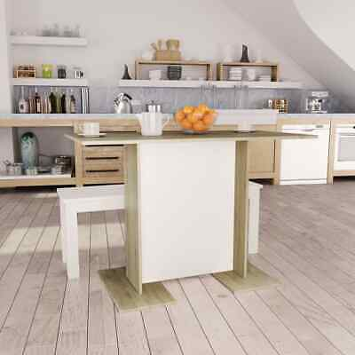 vidaXL Dining Table White and Sonoma Oak 110cm Chipboard