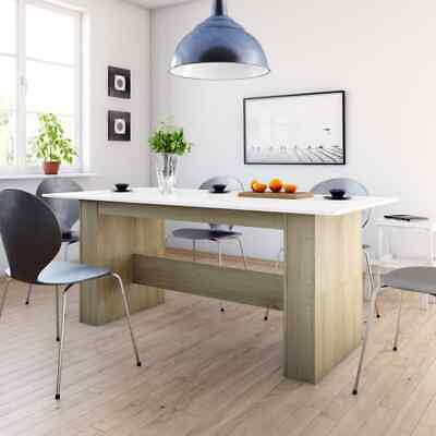 vidaXL Dining Table White and Sonoma Oak Chipboard Kitchen