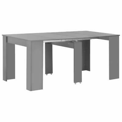 vidaXL Extendable Dining Table High Gloss Grey 175cm Kitchen