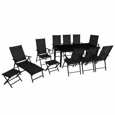vidaXL Folding Outdoor Dining Set 12 Piece Aluminium Black