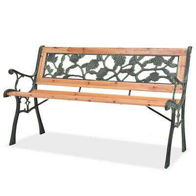 vidaXL Garden Bench 122cm Wood Rose-patterned Backrest