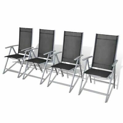 vidaXL Garden Chair Set 4 Piece Aluminium Foldable Outdoor