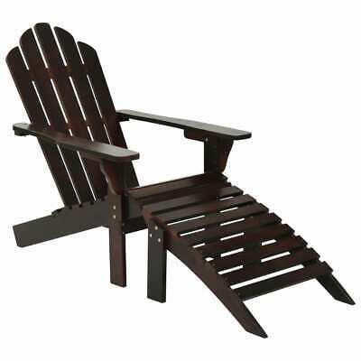 vidaXL Garden Chair with Ottoman Wood Brown Outdoor Lounge