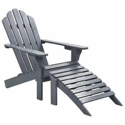 vidaXL Garden Chair with Ottoman Wood Grey Outdoor Lounge