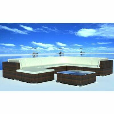vidaXL Garden Lounge Set 24 Piece Brown Poly Rattan Outdoor