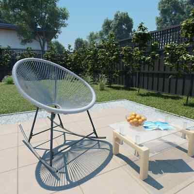 vidaXL Garden String Moon Rocking Chair Poly Rattan Grey