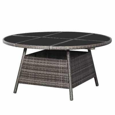 vidaXL Garden Table Round Grey 150x74cm Poly Rattan Outdoor