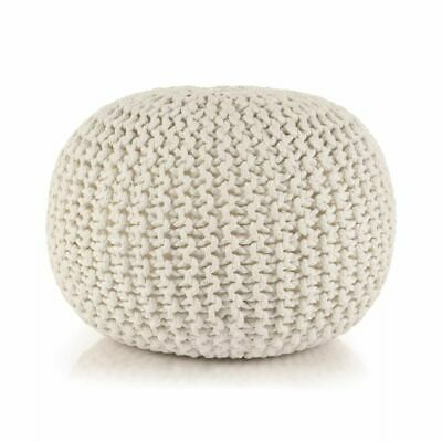 vidaXL Hand-Knitted Pouffe Cotton 50x35cm White Foot Stool