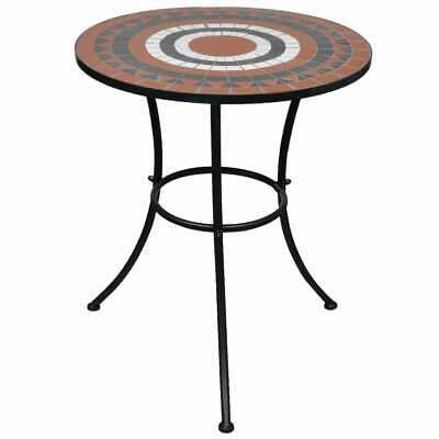 vidaXL Mosaic Table 60cm Terracotta and White Outdoor Garden