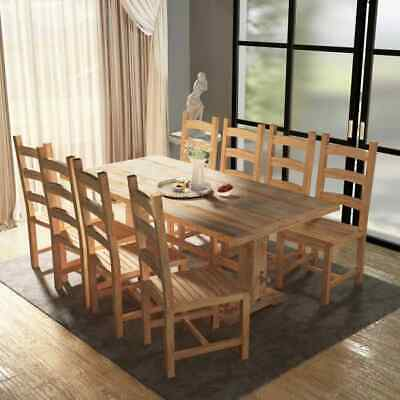 vidaXL Nine Piece Wooden Massive Dining Table and Chair Set