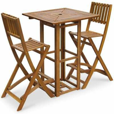 vidaXL Outdoor Bar Set 3 Piece Acacia Wood Table Foldable