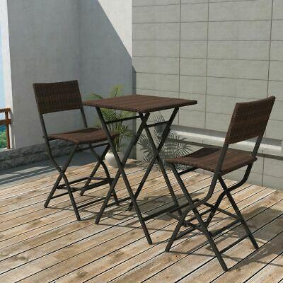 vidaXL Outdoor Bistro Set 3 Pieces Poly Rattan Brown Folding