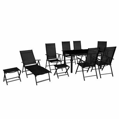 vidaXL Outdoor Dining Set 10 Piece Black Table Folding