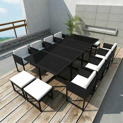 vidaXL Outdoor Dining Set 33 Piece Black Poly Rattan Table