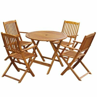 vidaXL Outdoor Dining Set 5 Piece Acacia Wood Folding Round