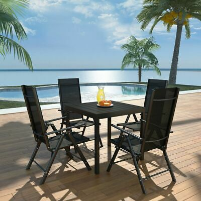 vidaXL Outdoor Dining Set 5 Piece Aluminium WPC Patio Table