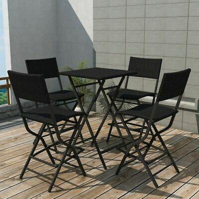 vidaXL Outdoor Dining Set 5 Pieces Poly Rattan Black Folding