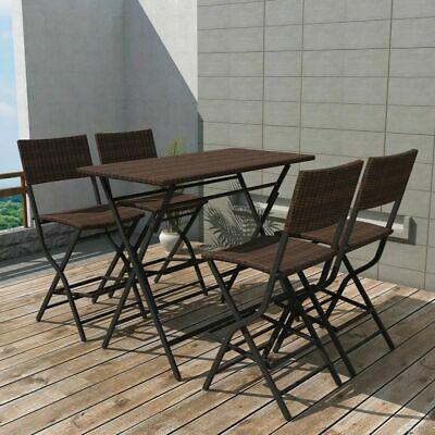 vidaXL Outdoor Dining Set 5 Pieces Poly Rattan Brown Folding