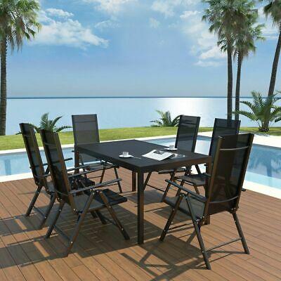 vidaXL Outdoor Dining Set 7 Piece Aluminium WPC Patio Table
