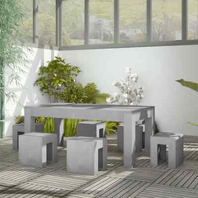 vidaXL Outdoor Dining Set 7 Piece Concrete Table and Stools
