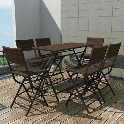 vidaXL Outdoor Dining Set 7 Pieces Poly Rattan Brown Folding