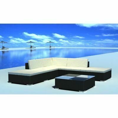 vidaXL Outdoor Lounge Set 15 Pieces Black Poly Rattan Garden