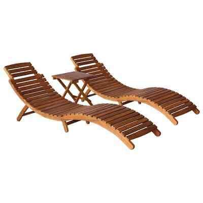 vidaXL Solid Acacia Wood 3 Piece Outdoor Lounge Set Brown