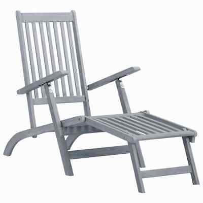 vidaXL Solid Acacia Wood Outdoor Deck Chair with Footrest