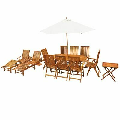 vidaXL Solid Acacia Wood Outdoor Dining Set 13 Piece Table