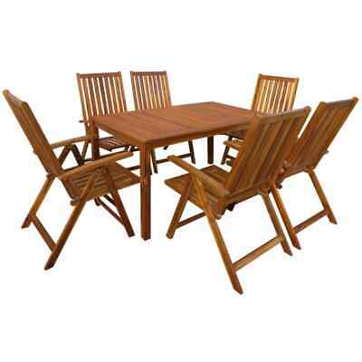 vidaXL Solid Acacia Wood Outdoor Dining Set 7 Piece Umbrella