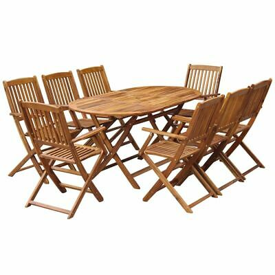 vidaXL Solid Acacia Wood Outdoor Dining Set 9 Piece Folding