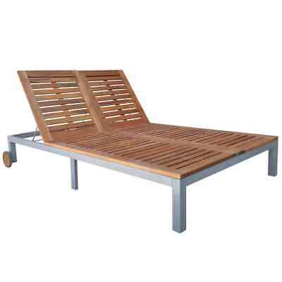 vidaXL Solid Acacia Wood Outdoor Double Sunlounger