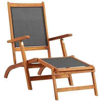 vidaXL Solid Acacia Wood Sun Lounger Textile Chaise Lounge