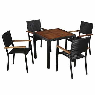 vidaXL Solid Acacia Wood and Poly Rattan Outdoor Dining Set