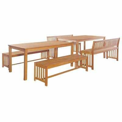 vidaXL Solid Eucalyptus Wood Outdoor Dining Set 6 Piece