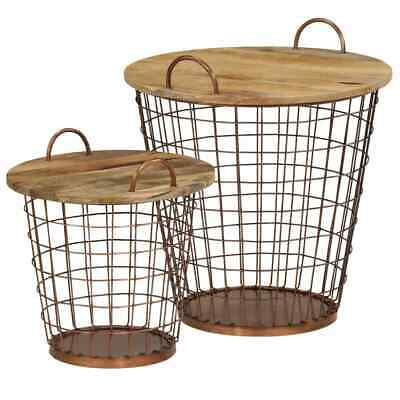 vidaXL Solid Mango Wood Coffee Table/Basket Set 2 Piece