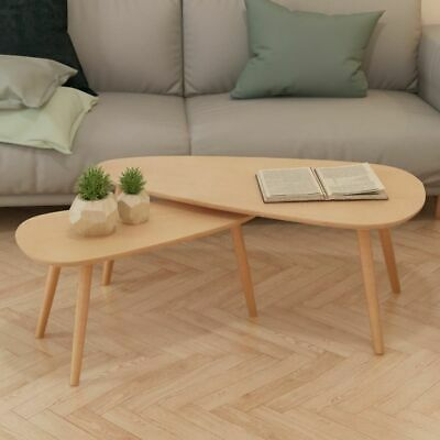 vidaXL Solid Pinewood Coffee Table Set 2 Piece Brown Home