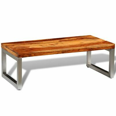 vidaXL Solid Sheesham Wood Coffee Table with Steel Leg Couch