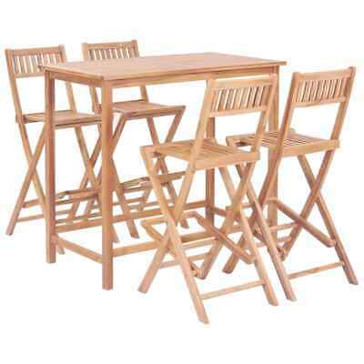 vidaXL Solid Teak 5 Piece Bar Set Outdoor Home Furniture