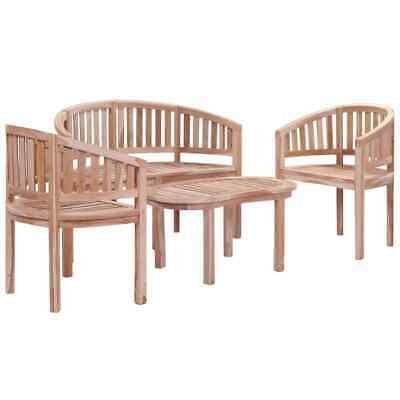 vidaXL Solid Teak Garden Lounge Set 4 Piece Outdoor
