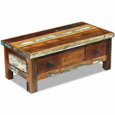 vidaXL Solid Wood Coffee Table Drawers Reclaimed 90x45x35 cm