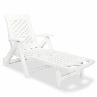 vidaXL Sunlounger with Footrest Plastic White Outdoor Patio