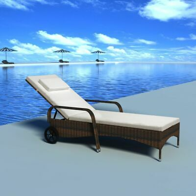 vidaXL Sunlounger with Wheels Poly Rattan Brown Wicker