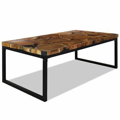 vidaXL Teak Coffee Table Resin 110x60x40cm Black Living Room