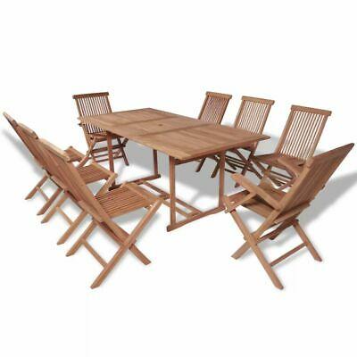 vidaXL Teak Outdoor Dining Set 9 Piece Garden Patio