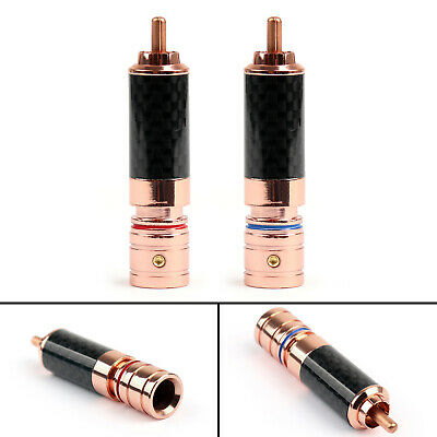 4Pcs Copper Carbon fiber RCA Plug Audio Adapter Connector
